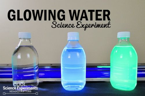 "Three different ""types"" of water and a black light is all you need for this fun and bright experiment. #Science #ScienceExperiments #CoolScienceHQ"