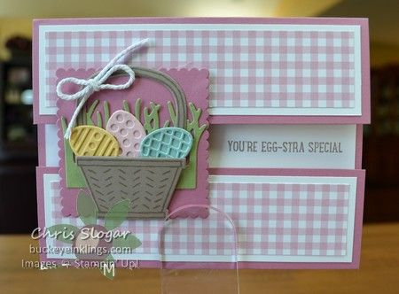 "This is a fun way to make a gate fold card, and it's so forgiving because the flaps don't have to meet precisely as in a typical gate fold. The flaps here leave a 3/4"" strip of the inside exposed - and that is a perfect place for a greeting. The greeting and basket pieces are all from the Basket Bunch Bundle. The scalloped square panel is only attached to the top flap. I used dimensionals to attach it to the flap after it was decorated. The Sweet Sugarplum card base mea..."