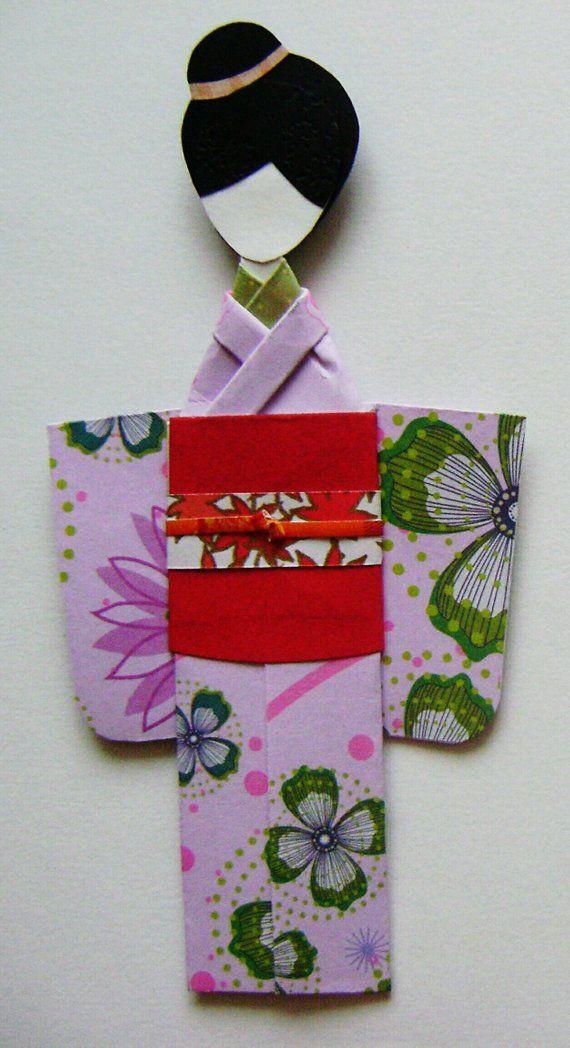 Kimono Origami Japanese Paper Dolls Geisha Doll Bookmarks Paper