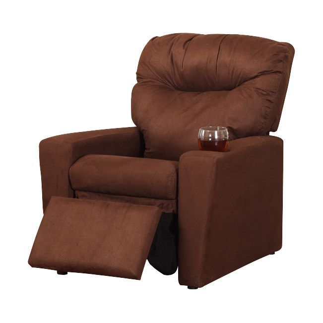 Pilaster Designs   Dark Brown Microfiber Kids Recliner Chair With Cup Holder