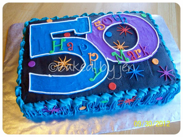 "50th Birthday - 9x13-inch cake for 50th birthday party. Design based on ""The Party Continues"" party supplies theme."