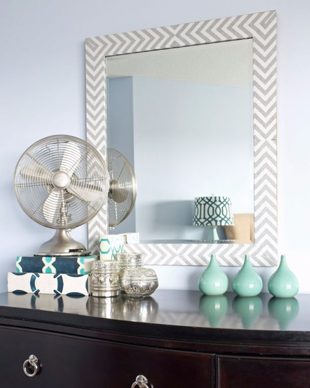 DIY Hacks for Renters – Herringbone Mirror with Fabric – Easy Ways to Decorate and Fix Things on Rental Property – Decorate Walls, Cheap Ideas for Mak…