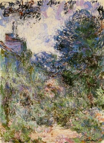 The House Seen from the Rose Garden - Claude Monet - Completion Date: 1924