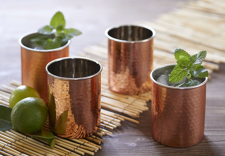 Moscow Mule Cups - textured, copper-colored steel cups.