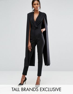 Lavish Alice Tall Wrap Front Jumpsuit With Cape Back Detail