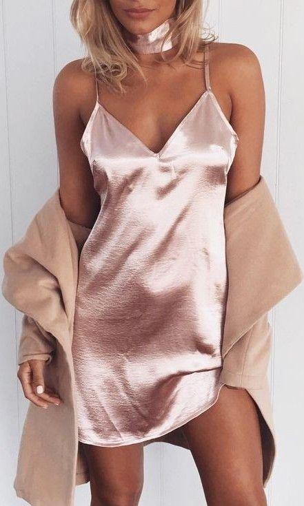 Pink Silk Slip Dress                                                                             Source