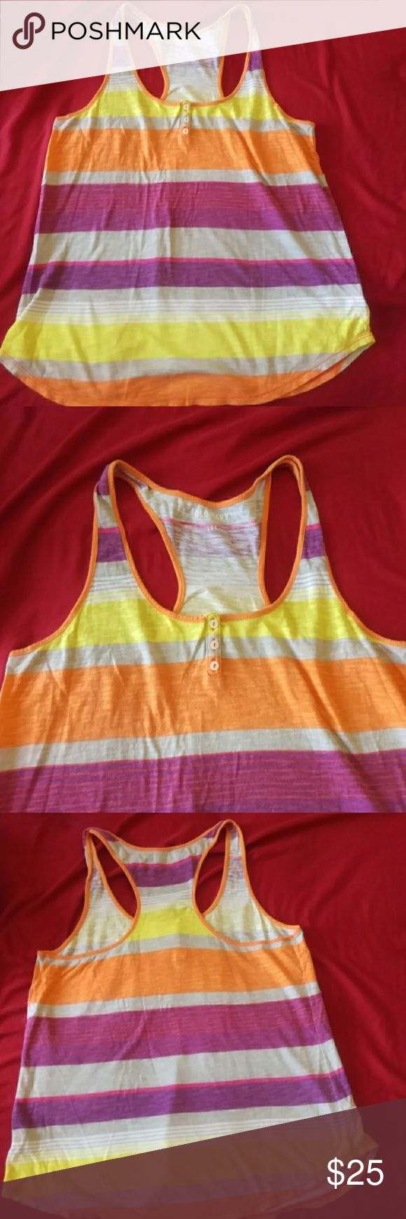 Old navy multicolored razorback tank Old navy multicolored tank top racer back size 10.colors purple,yellow,orange,gray and white Old Navy Tops Tank Tops