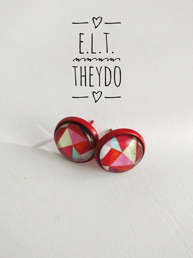 Geometric Stud Earrings Glass Cabochon di ELTStore su Etsy
