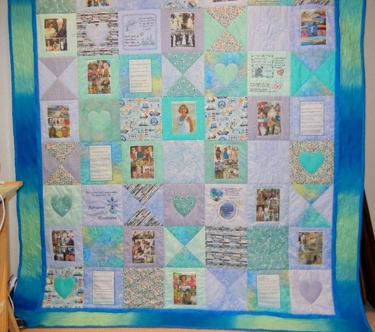 Memory Quilt - picture collages and embroidery panels capture your special memories in a one of a kind bed quilt or wall hanging.