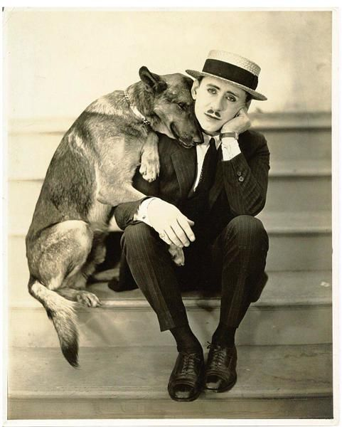 antique photo of man and german shepherd--love the sweet expression on the dog's face.