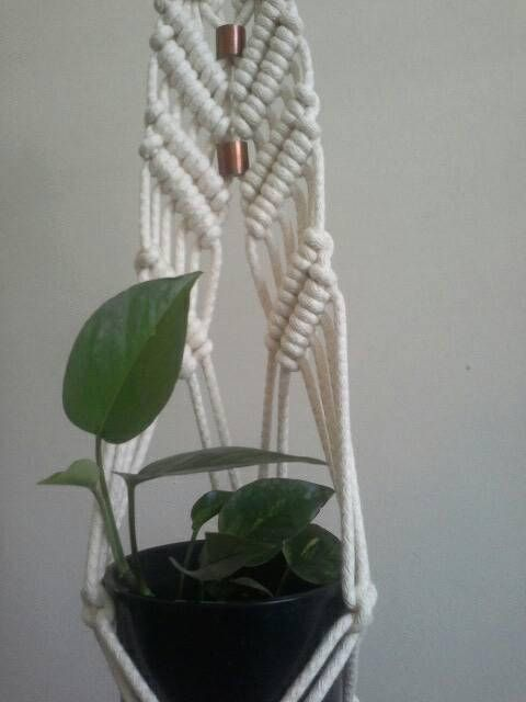 Gorgeous macramé plant holder with copper beads, by FisherKing Macramé in Melbourne https://www.etsy.com/au/listing/583978593/sun-queen-ii-macrame-plant-hanger-with