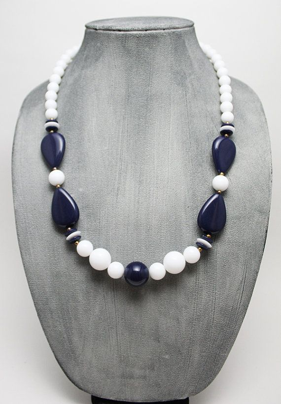 Vintage White and Navy Blue Beaded Necklace by ThingsByElliott, $10.00