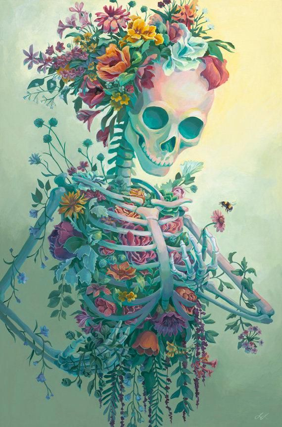 Life 24×36 fullsize Print – Acrylic Painting Art Reproduction Skeleton Flowers Bouquet Death Bee Creepy Pretty Colorful Colors Poster