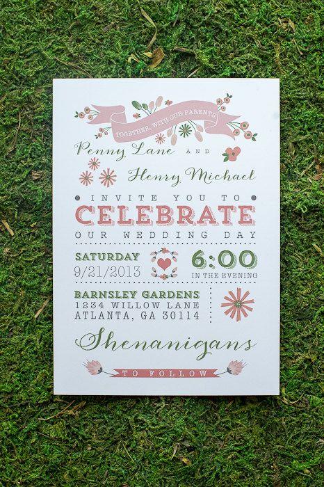 Wedding Invitation / / Rustic  Modern Garden Wedding Invitation / / Pink and Green Flowers