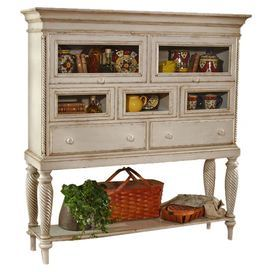 """Wood sideboard in country white with two English dovetail drawers and five glass doors.""""Product: Sideboard    Construction Material: Wood and glass    Color: Country white   Features: English dovetail joints Two drawers, one shelf, and five glass doors   Dimensions: 64 H x 67 W x 18 D  Note: Some assembly may be required  Cleaning and Care: Dust frequently using a clean, specially treated dusting cloth that will attract and hold dust particles.  Do not use wax or abrasive clea…"""