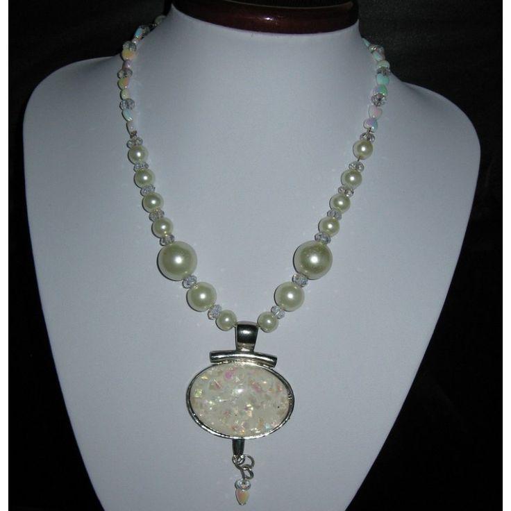 collier et pendentif blanc brillant - Bijoux 89
