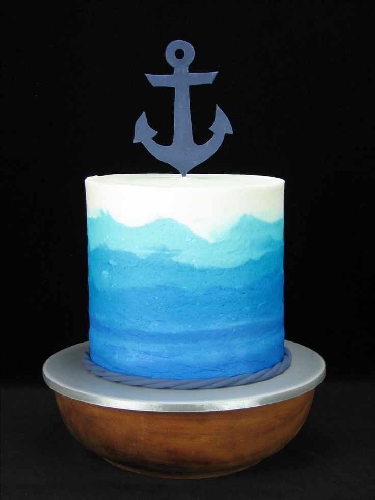 Nautical: Blue ombre white chocolate mudcake with coconut buttercream inside.