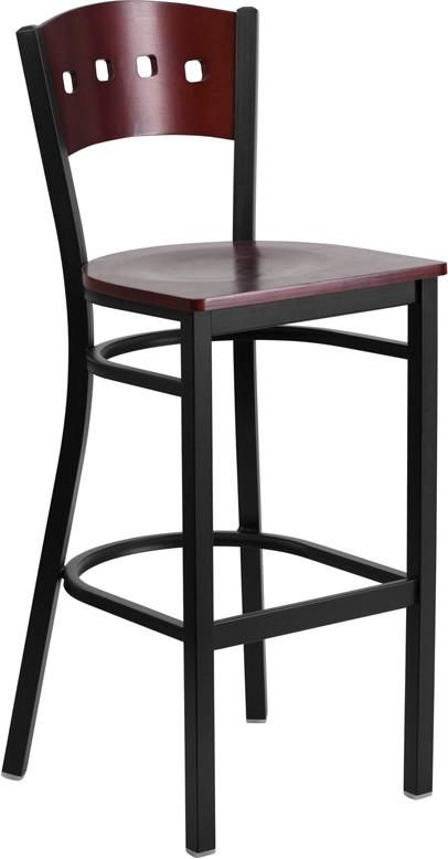 HERCULES Series Black Decorative 4 Square Back Metal Restaurant Barstool - Mahogany Wood. The metal barstool is a popular choice for furnishing restaurants, pool halls, lounges, bars and other high traffic establishments. This stool is easy to clean, which is an important aspect when it comes to a business. This stool was designed to withstand the daily rigors in the hospitality industry, but will also provide a chic look to your home. The frame is stabilized using two welded support bars…