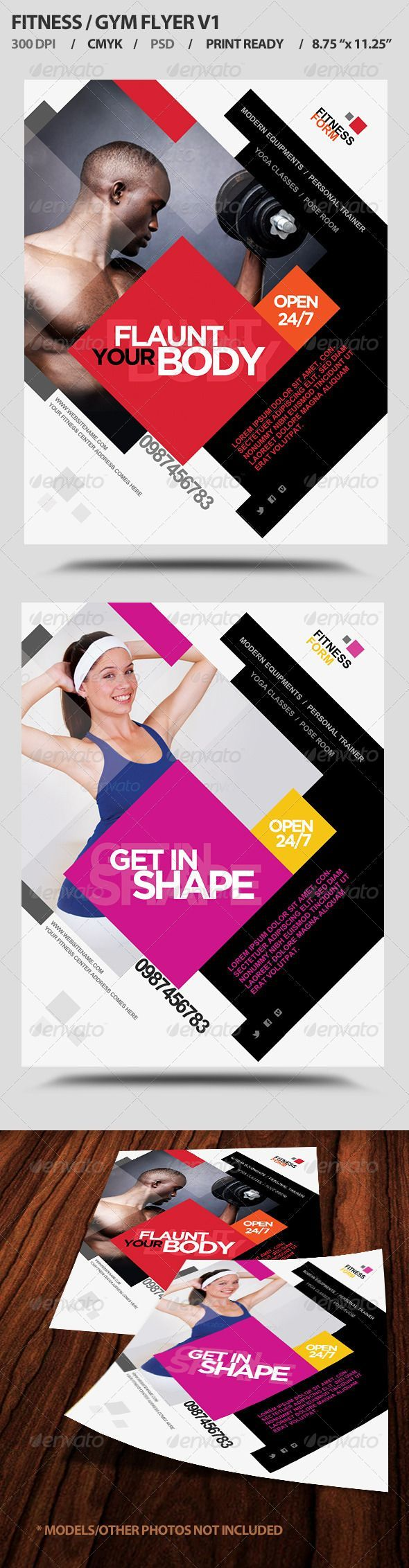 Gym promotional flyer template by Graphic River. Diagonals and asymmetry create energy in design. Viewers are also drawn in when they see people's faces and look where they see the models looking.