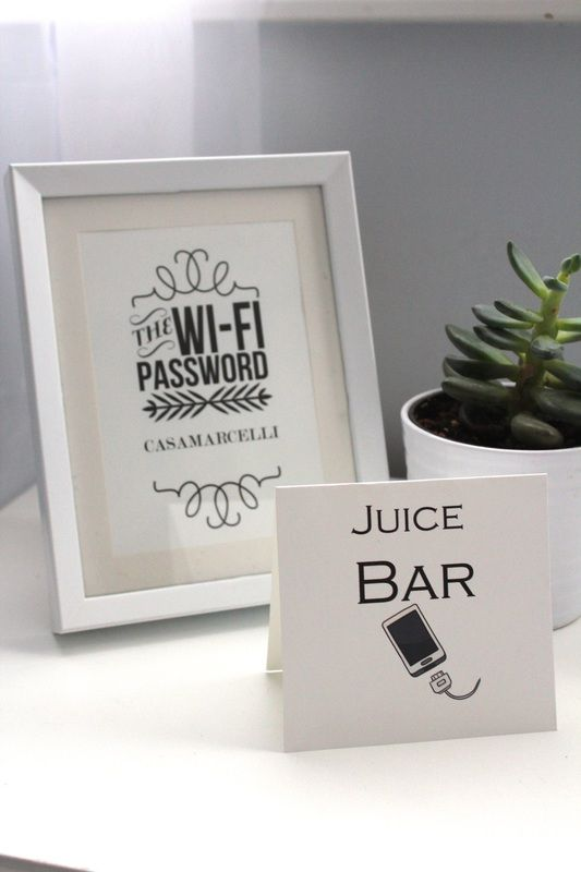 Juice Bar recharge station and Wifi Password for guests. http://www.amymarcellidesign.com/design/diy-recharge-station