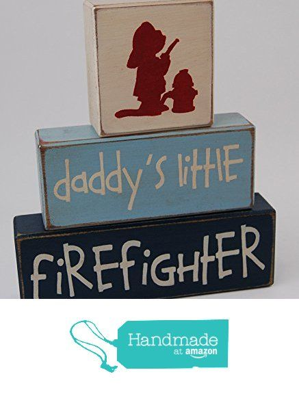 Daddy's Little Firefighter - Fireman Theme Primitive Country Wood Stacking Sign Blocks-Baby Shower Gift Centerpiece - Fireman Birthday - Fireman Nursery Room Home Decor from Blocks Upon A Shelf https://www.amazon.com/dp/B01D0T1BXM/ref=hnd_sw_r_pi_awdo_QcrixbCX3A6F2 #handmadeatamazon