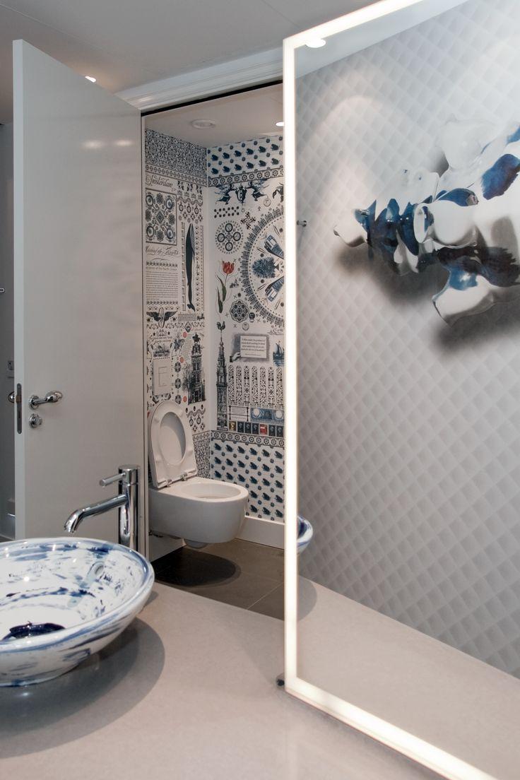 Wanders blue wanders forest flocked wallpaper damask wallpaper - Andaz Hotel Digital Wallpaper Fotobehang Delfts Blauw By Marcel Wanders Bn Wallcoverings