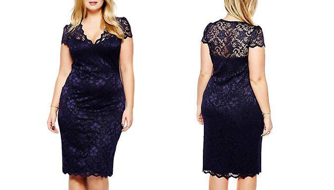 Buy: Lace Cap Sleeve Midi Dress - UK Sizes 12-20 for just: £6.99 For serious 'wow' factor, add thisLace Midi Dress to your wardrobe      Available in UK sizes 12, 14, 16, 18 or 20      Stylish lace v-neck and flattering cap sleeve      Navy lace overlay for a feminine,vintage feel      Bodycon style to flaunt your curves      Midi length to exude elegance      Perfect for any cocktail...