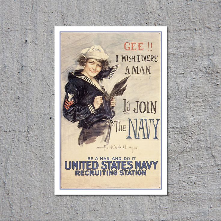 Gee!! I Wish I Were A Man - I'd Join The Navy - Naval Recruitment Poster ca.1917 // High Quality Fine Art Reproduction Giclée Print by TheRetroPoster on Etsy