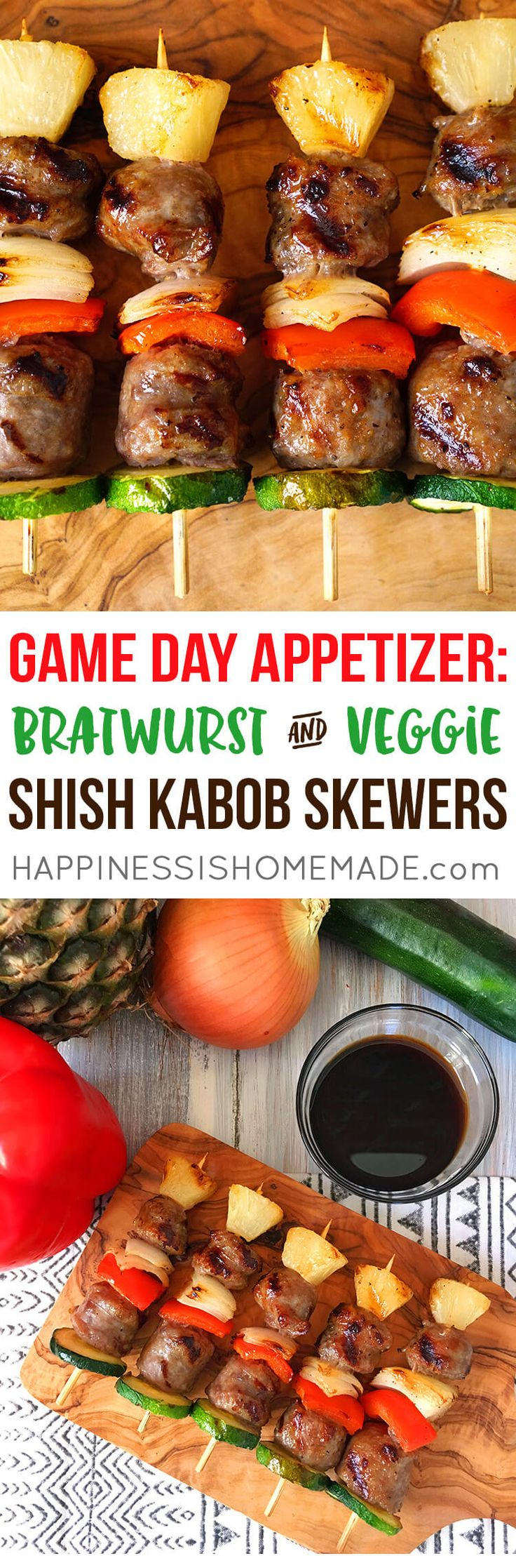 Grilled Bratwurst and Vegetable Shish Kabob Skewers are the perfect appetizer to munch on during The Big Game! Quick and easy to make! #ad @jvillesausage