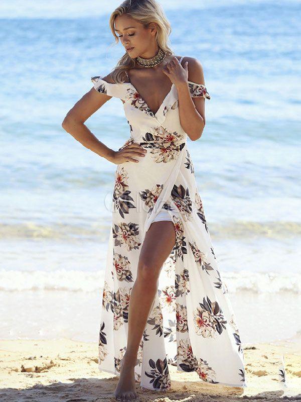 Boho Maxi Dress Chiffon V Neck Ruffle Short Sleeve Floral Printed Slit Summer Dress