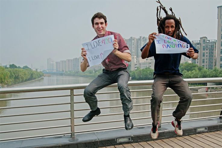 Jumping with joy on top of a bridge over the Qinhuai River at Shitoucheng Park. The Nanjing Youth Olympic Games start on August 16. #YOG #NJYOG #Olympics