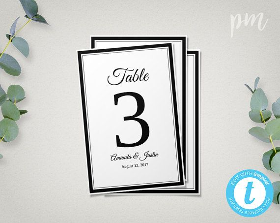 Wedding Table Number Template Printable Wedding Table Number