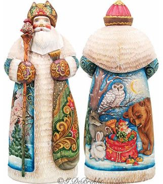 Artistic Wood Carved Peaceful Kingdom Santa Claus Sculpture - traditional - Holiday Accents And Figurines - Brass Binnacle