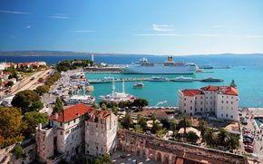 Обои корабли, побережье, лайнер, порт, море, лодки, причал, Хорвати, Split, пейзаж