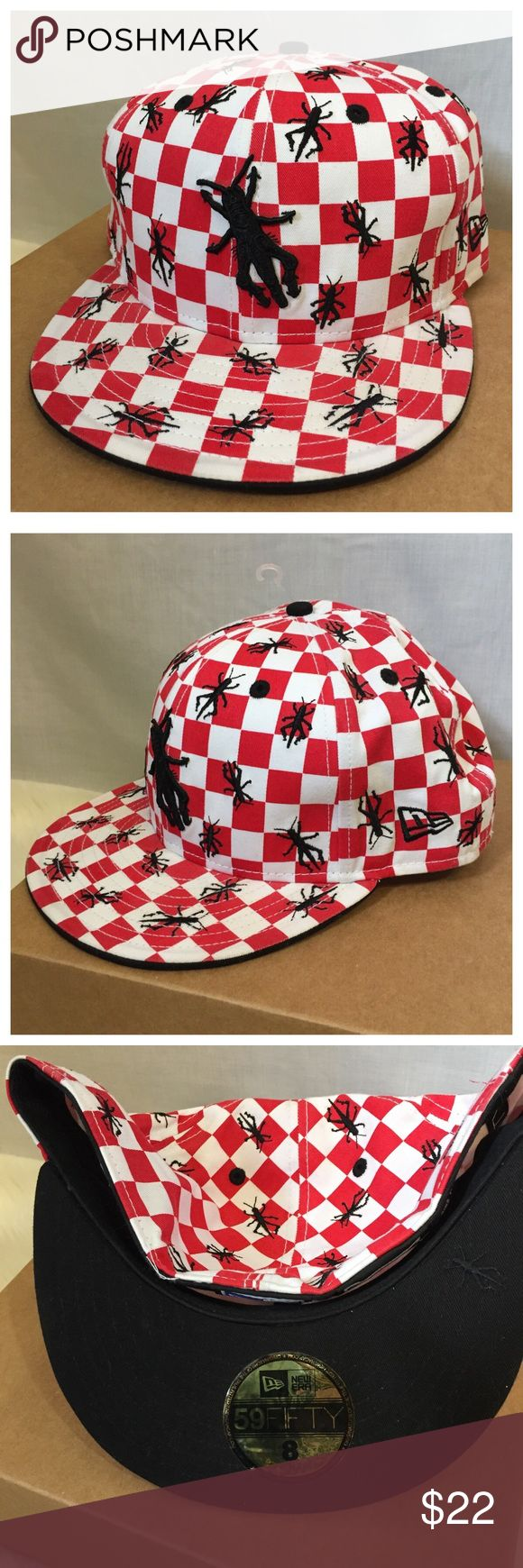 New Era 59Fifty Fitted Hat Picnic Tablecloth Ants New Era 59Fifty Fitted Hat Size 8 Red White Picnic Tablecloth Ants Insects 🐜  • Fitted cap  • Size 8 • Red and white checkerboard background with black embroidered ants insects • Ruining your picnic • Underside of lid is black • Gently worn, good pre-loved condition, no rips, stains, or tears New Era Accessories Hats