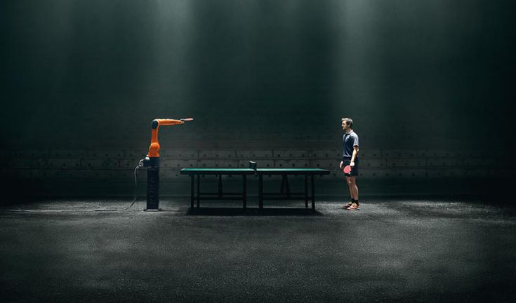 the duel: table tennis champion timbo boll vs. KUKA, fastest robot in the world #pingpong