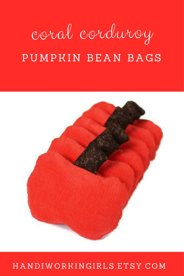 Bright and fun, our coral-colored corduroy pumpkin bean bags are just the right size for birthday party favors: https://www.etsy.com/handiworkingirls/listing/545570882/coral-pumpkin-bean-bags-with-chocolate