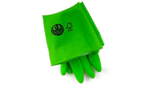 FSC Certified Compostable Rubber Gloves -> Natural rubber is sourced from an environmentally responsible plantation. The gloves are naturally biodegradable you can cut them up and add them to your compost at the end of their life. Buy 12 pack for $48.65 at http://store.detrashed.com