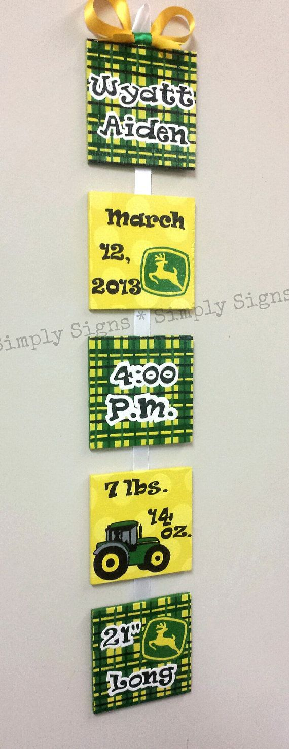 John Deere Style Birth Announcement for by SimplySignsByJess