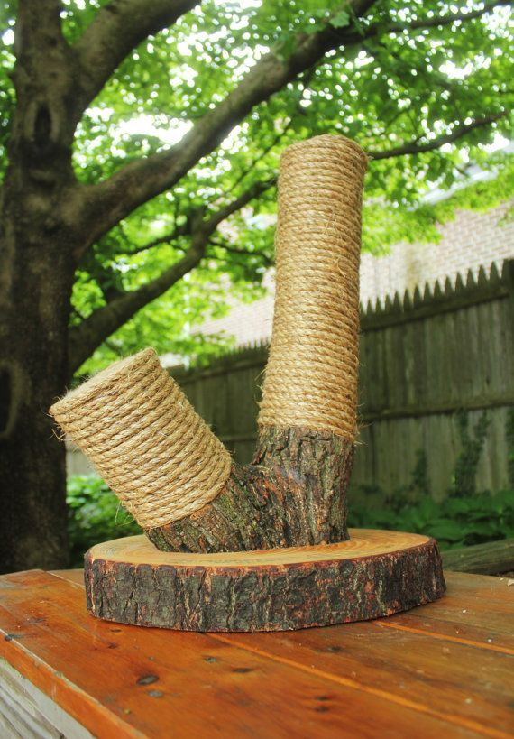 Handmade & Recycled Tree-Limb Cat Scratching Post - Cat Scratcher - Rustic Cat…