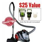 Ovente Featherlight Cyclonic Bagless Canister Vacuum Cleaner, Grays