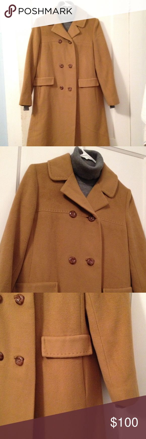 Burlington Cashmere Camel Colored Coat Vintage Burlington 100% cashmere camel colored coat. Coat comes about just below the knee. Two pockets in the front. Across the chest is measures roughly 19 inches. Length from top of the shoulder to the bottom is roughly 40 inches. Top stitching. (Grey turtle neck not included) Price is Firm!!! Burlington Jackets & Coats