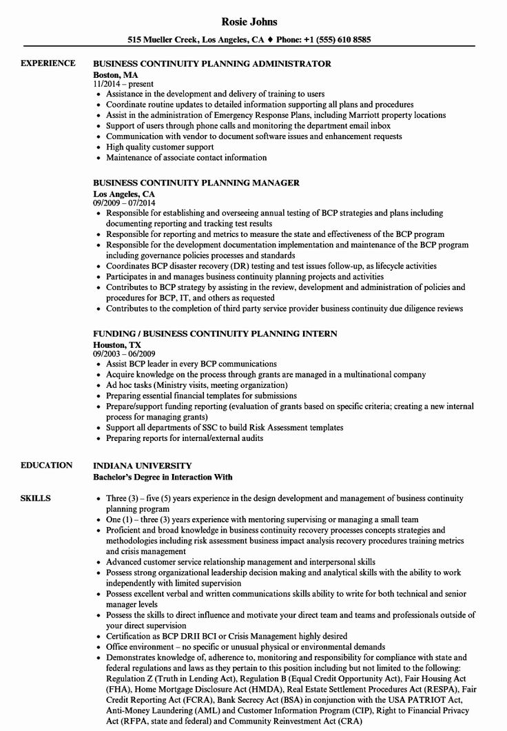40 Business Continuity Plan Sample Project manager