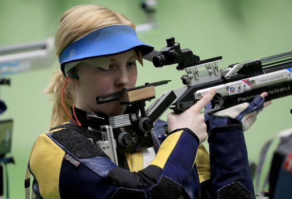 Virginia Thrasher of the United States competes in the 10m Air Rifle Women's Qualifying round on Day 1 of the Rio 2016 Olympic Games at the Olympic Shooting Centre on Day 1 of the Rio 2016 Olympic Games at the Olympic Shooting Centre in Rio de Janeiro, Brazil.