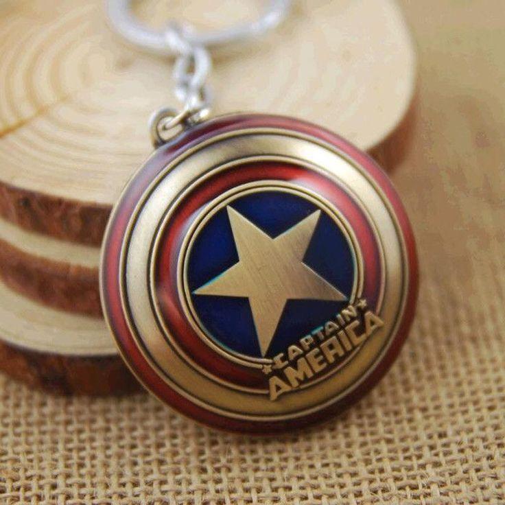 2016 New Hot Marvel Super Hero Captain America pendant key ring key holder llaveros metal avengers Cosplay Keychain jewelry