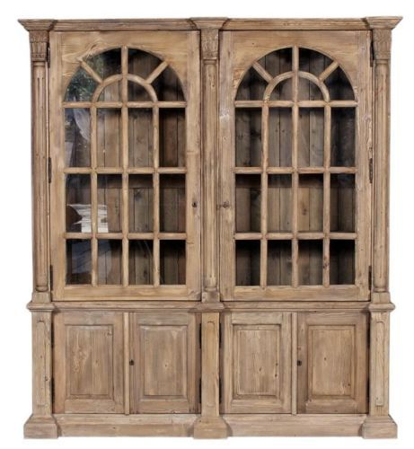 Double Arched Distressed Pine Bookcase w/ Reclaimed Pine Wood Display Cabinet- $2,488.00