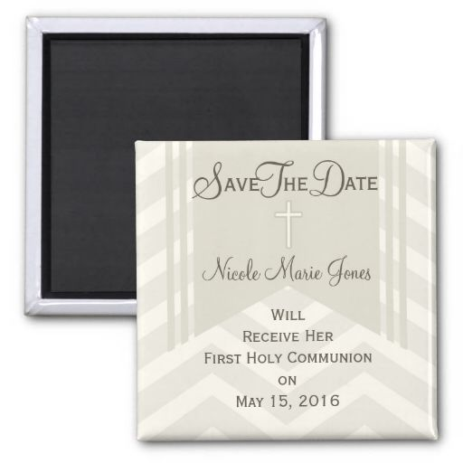 chevron save the date communion magnet