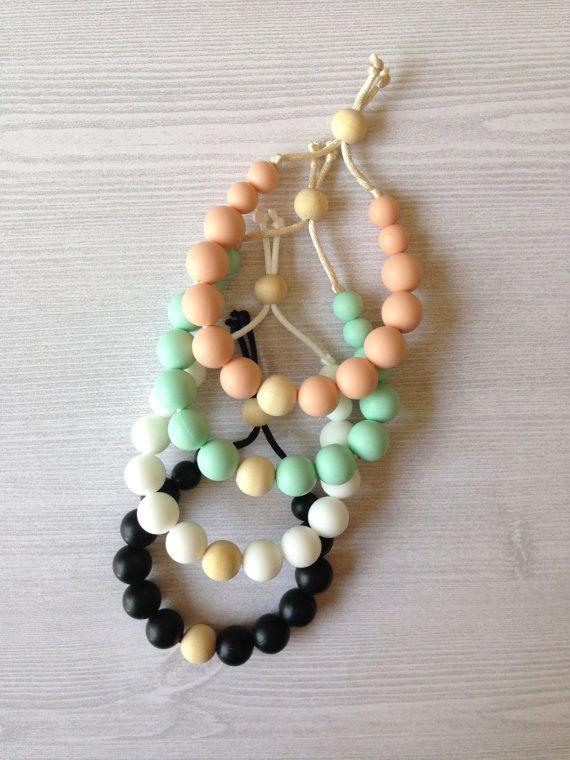 Pastel silicone teething bracelet @sweetiepiedesignco