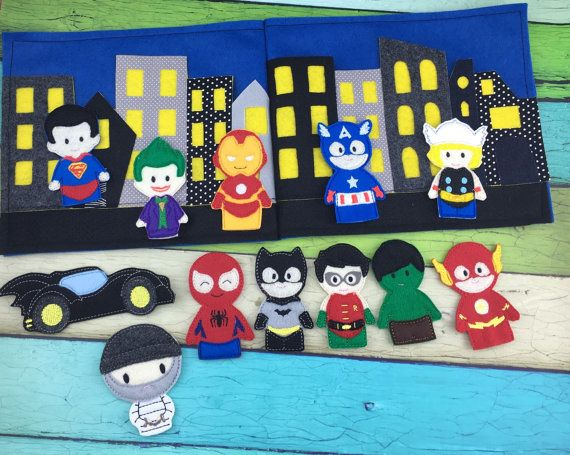 Heres a fun way to take those superheros on the go with you! Each book includes heroes of your choice. Those heroes will be busy protecting the city from the bad guys and when playtime is over, just place the puppets in the city pocket and close up the book till next time. They easily fit in backpacks and bags for on the go fun with your little one :) Please allow up to 2 weeks for your puppet set to be made and shipped to you. Please select the puppets youd like and leave a message to…