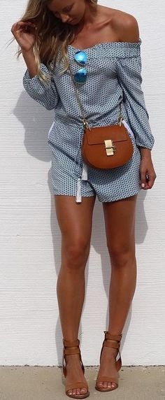 Blue printed romper. Clothing, Shoes & Jewelry : Women : Clothing : Jeans : outfits http://amzn.to/2l7Yifa